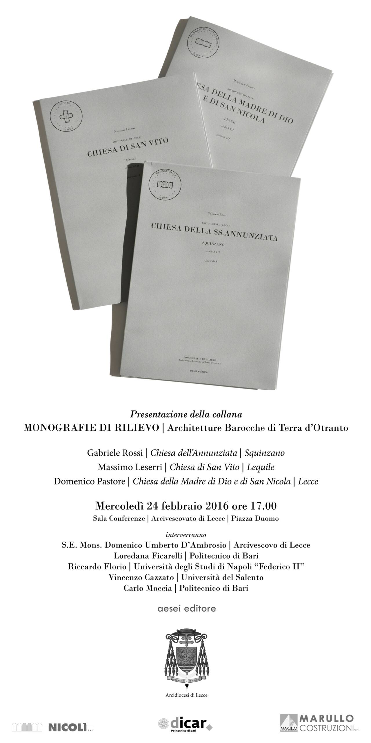 """Presentazione collana """"Monografie di Rilievo"""""""