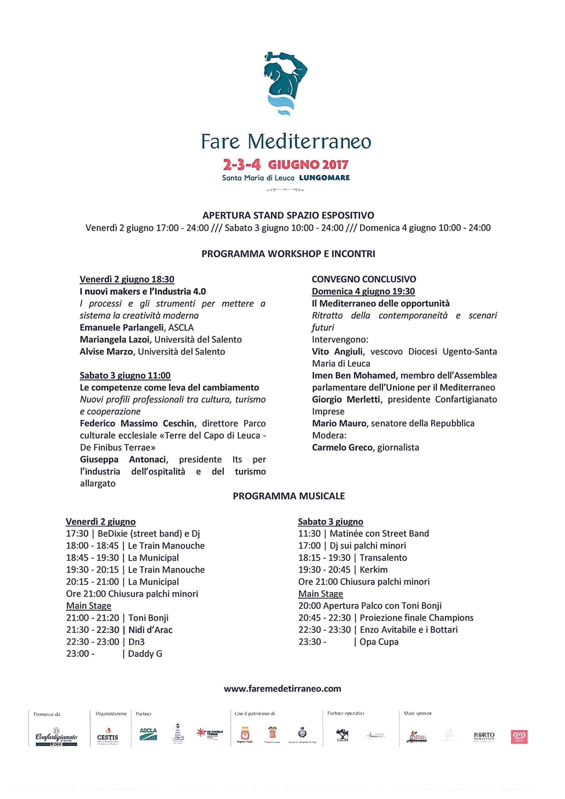 Invito Fare Mediterraneo – Santa Maria di Leuca Lungomare 2-3-4 giugno 2017