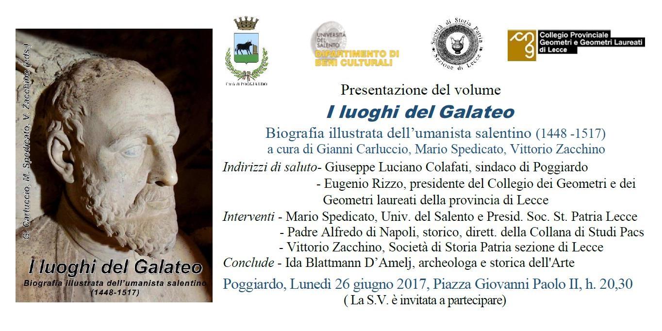 """Invito presentazione volume """"I luoghi del Galateo"""" – Poggiardo 26/06/2017"""