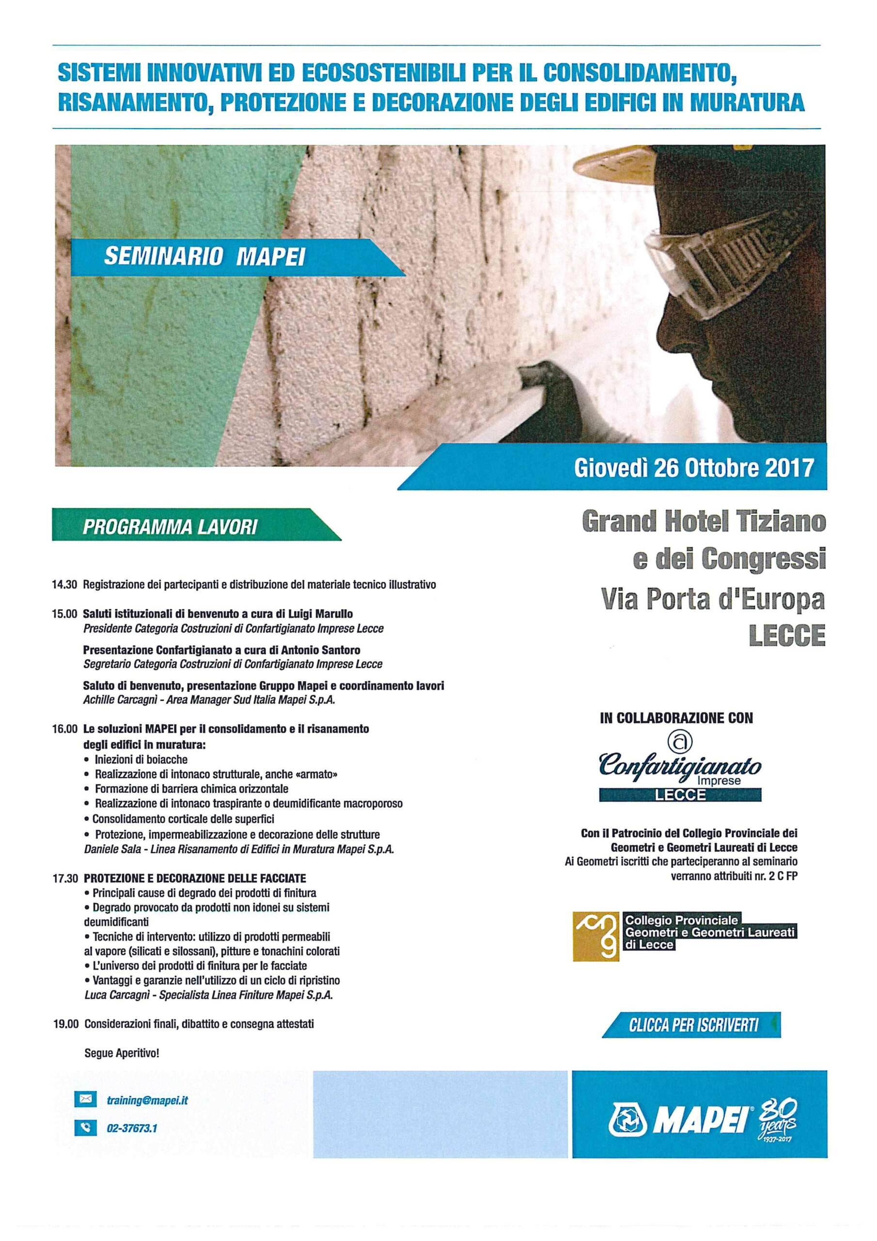 Seminario Mapei – Sistemi innovativi ed eco sostenibili per il consolidamento, risanamento, protezione e decorazione degli edifici in muratura – Lecce 26/10/2017
