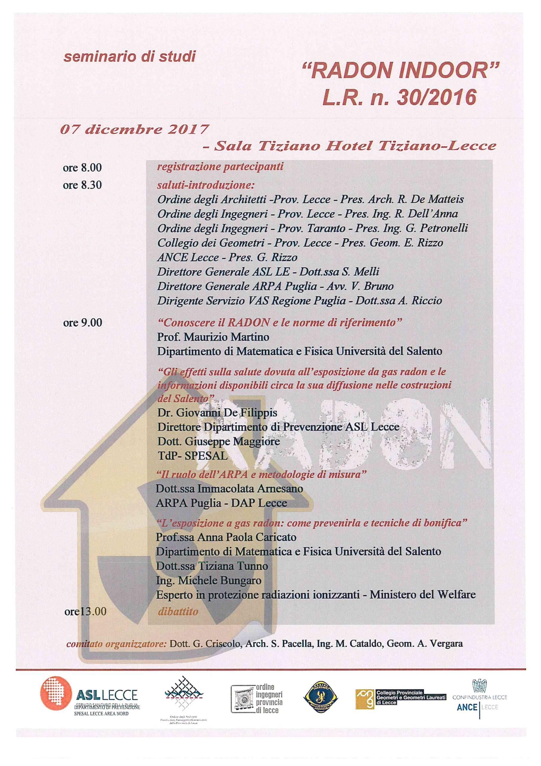 """Seminario di studi """"RADON INDOOR"""" L.R. n. 30/2016 – Lecce 07/12/2017"""