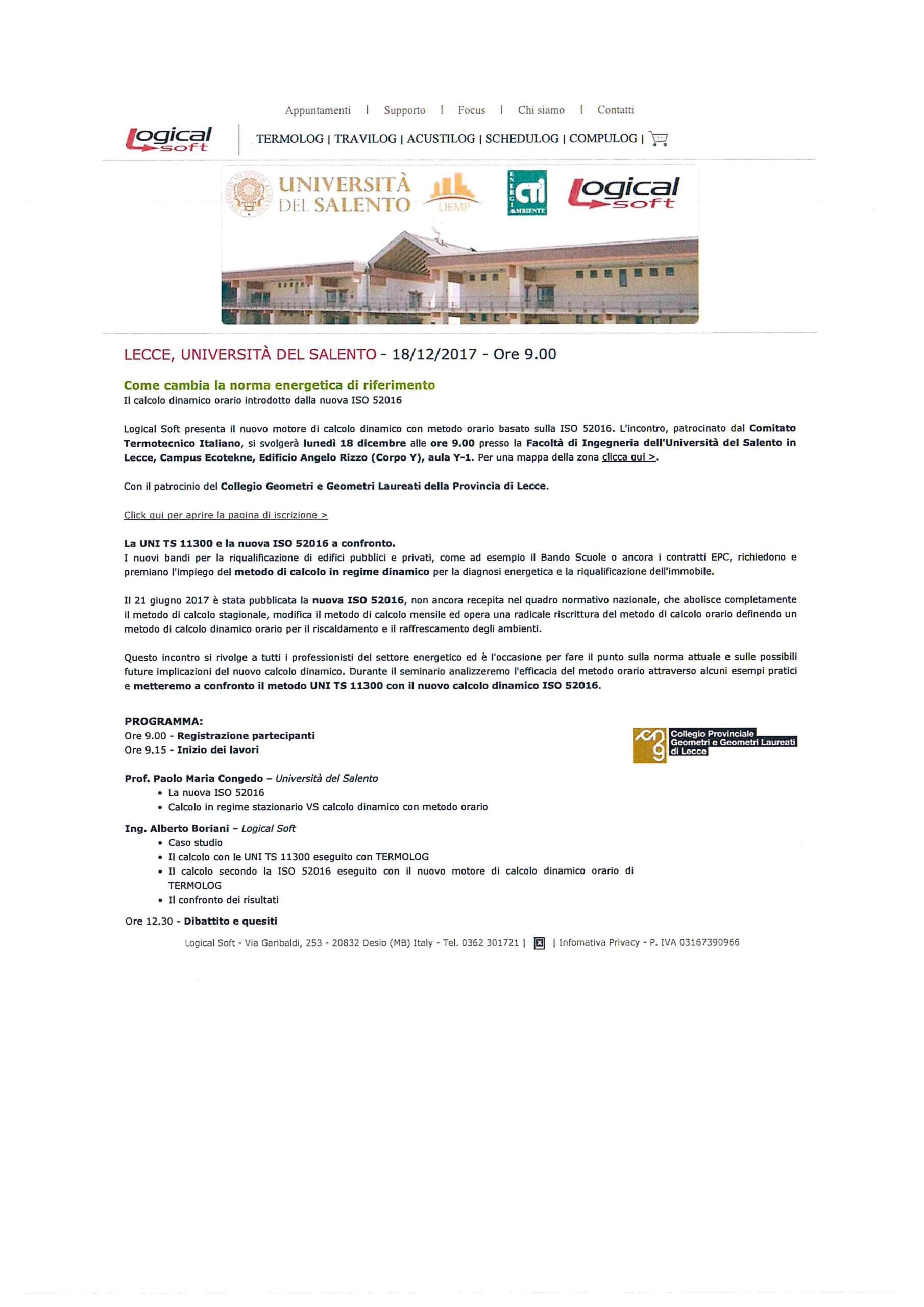 CONVEGNO TECNICO – Come cambia la norma energetica di riferimento – Il calcolo dinamico orario introdotto dalla nuova ISO 52016 – Lecce 18/12/2017