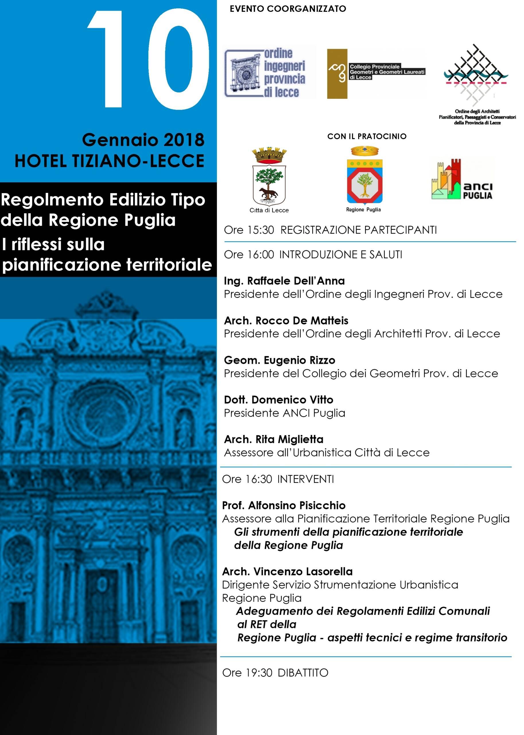 Evento – Regolamento Edilizio Tipo della Regione Puglia. I riflessi sulla pianificazione territoriale – Lecce 10/01/2018