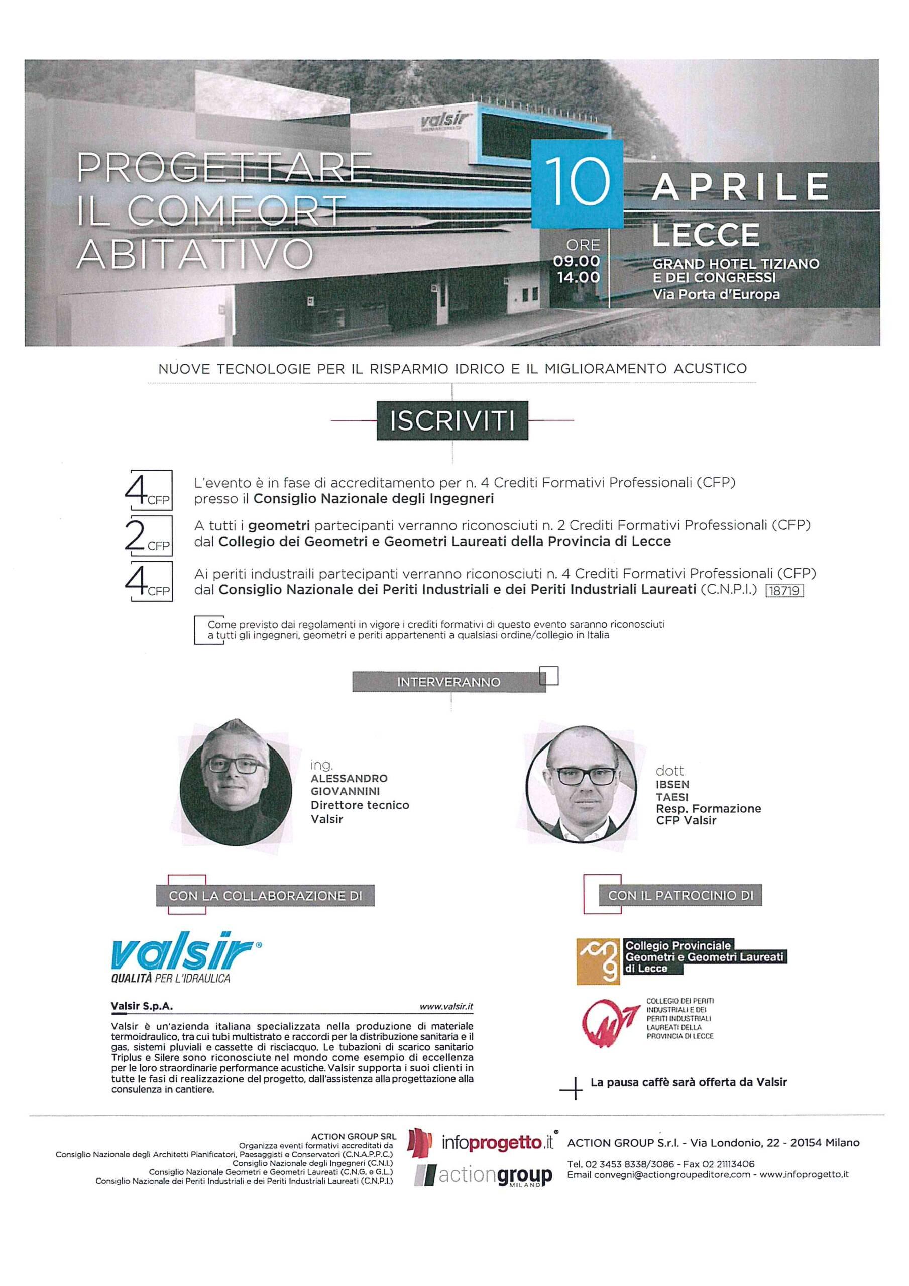 """Action Group Srl – Evento """"Progettare il comfort abitativo – Nuove tecnologie per il risparmio idrico e il miglioramento acustico"""" – Lecce 10/04/2018"""