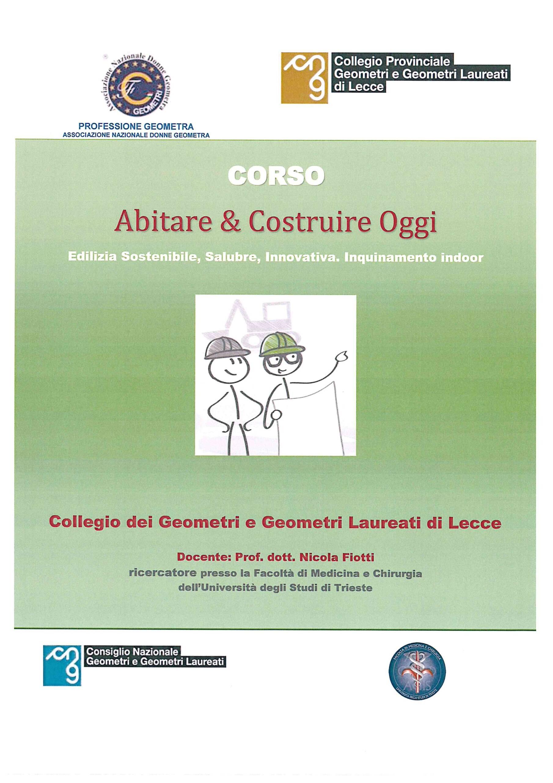 Corso ABITARE E COSTRUIRE OGGI – Lecce 30/06/2018