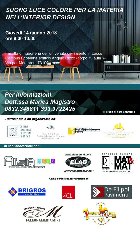 Seminario tecnico: SUONO, LUCE, COLORE NELLA MATERIA PER L'INTERIOR DESIGN – Lecce 14/06/2018
