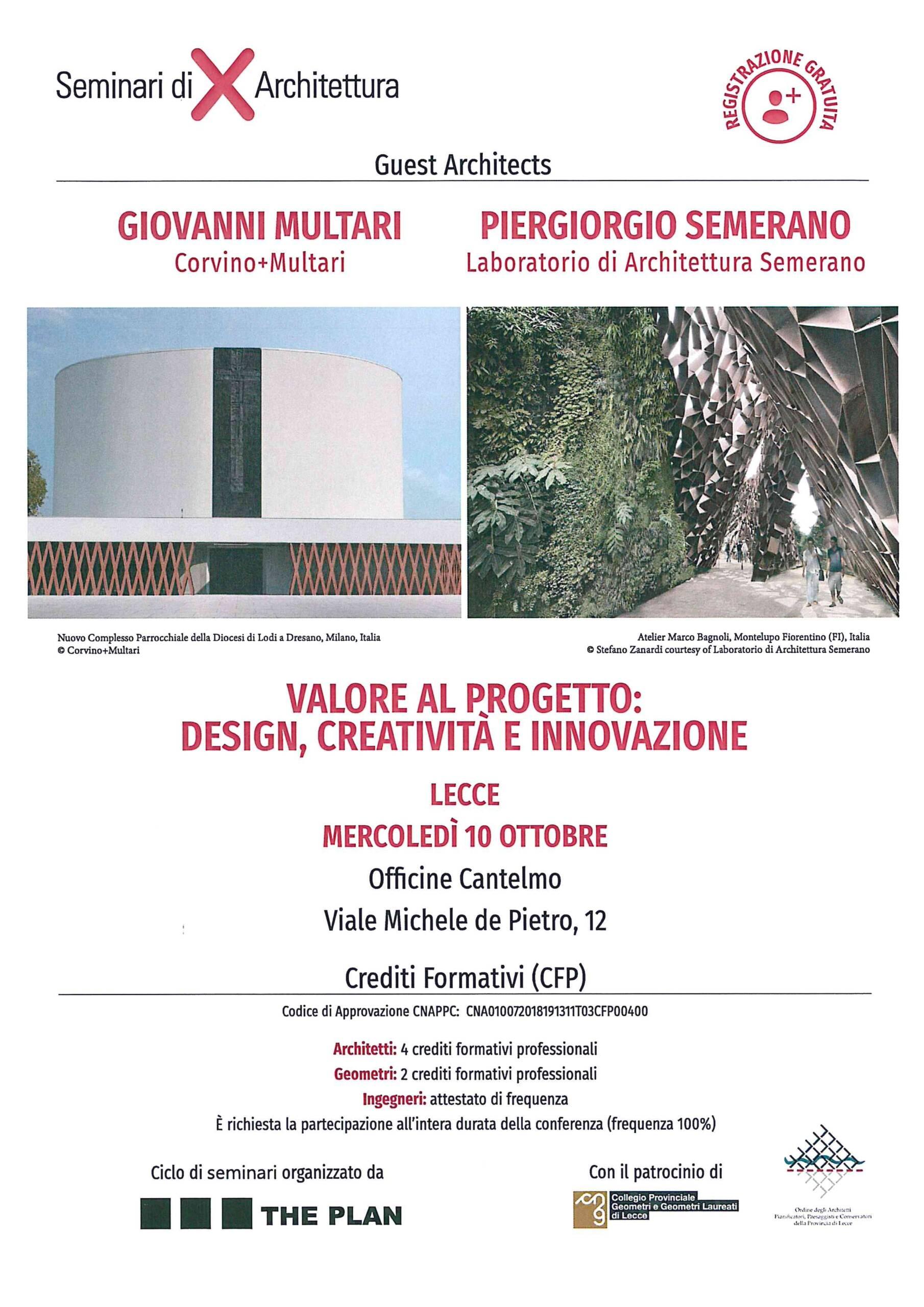 """The Plan – Seminario di Architettura """"Valore al progetto: design, creatività e innovazione"""" – Lecce 10/10/2018"""