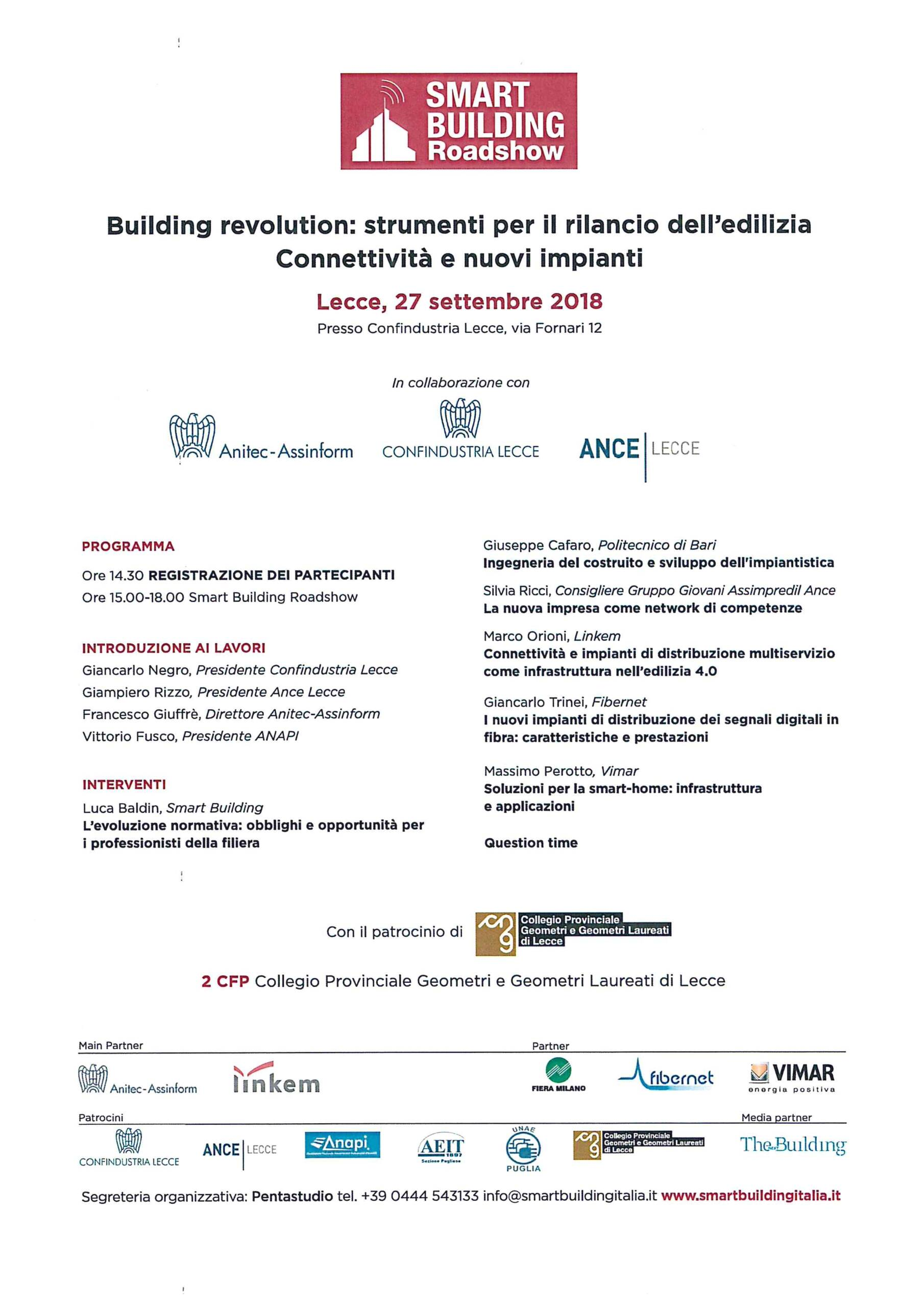 Evento SMART BUILDING Roadshow – Lecce 27/09/2018
