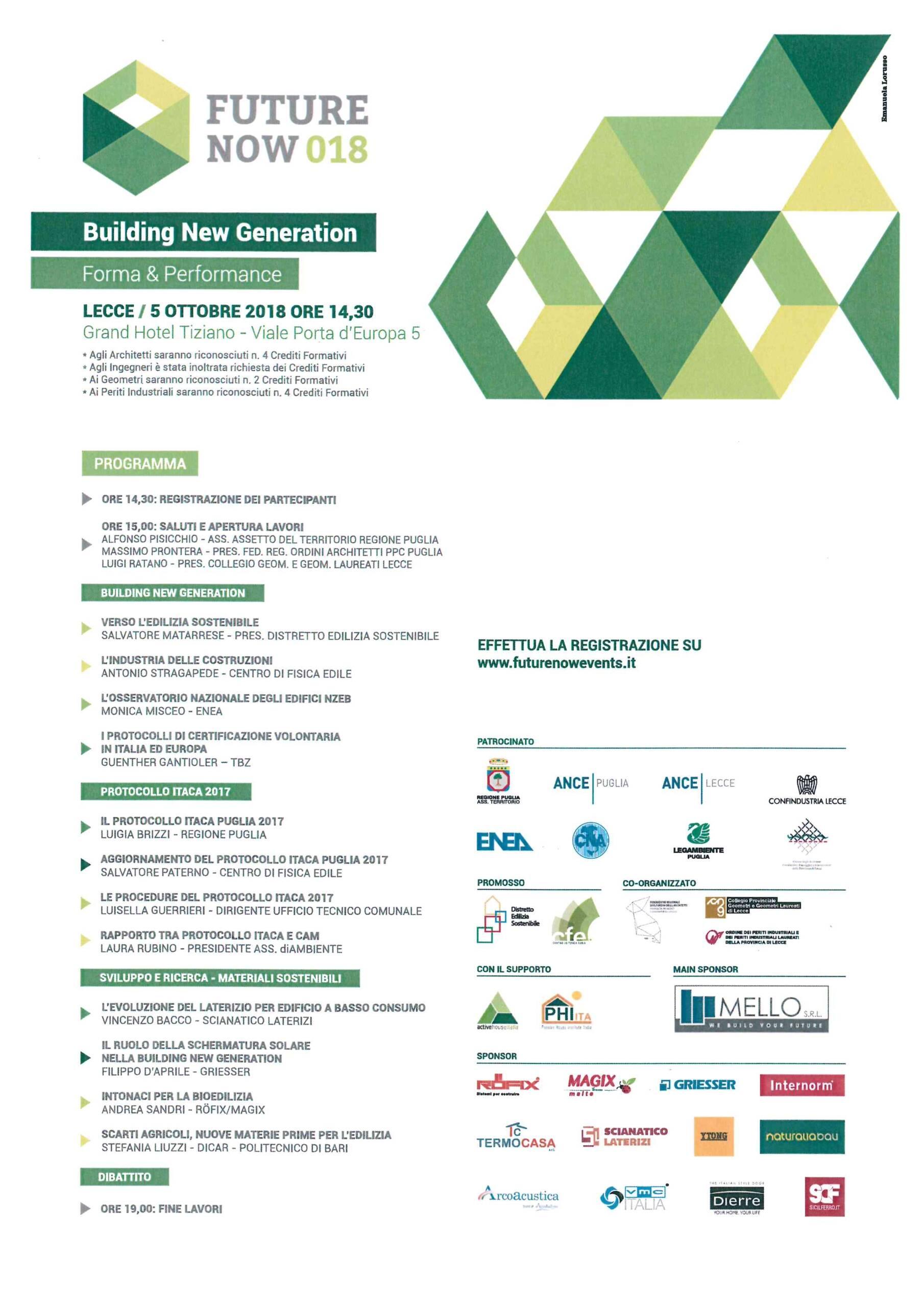"""Evento FutureNow_018 """"Building New Generation"""" – Lecce 05/10/2018"""