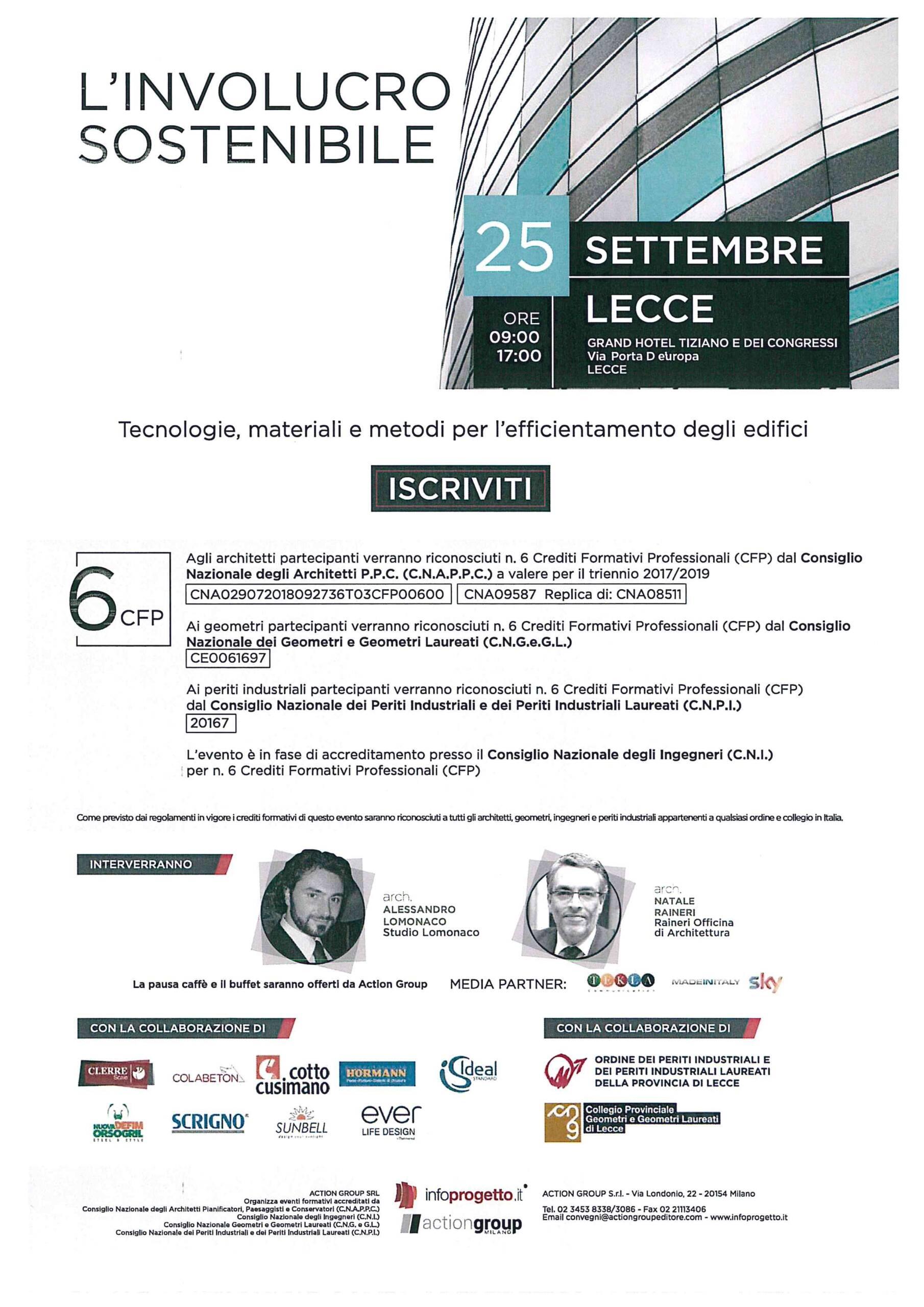 """Action Group Srl – Evento """"L'Involucro Sostenibile"""" – Lecce 25/09/2018"""