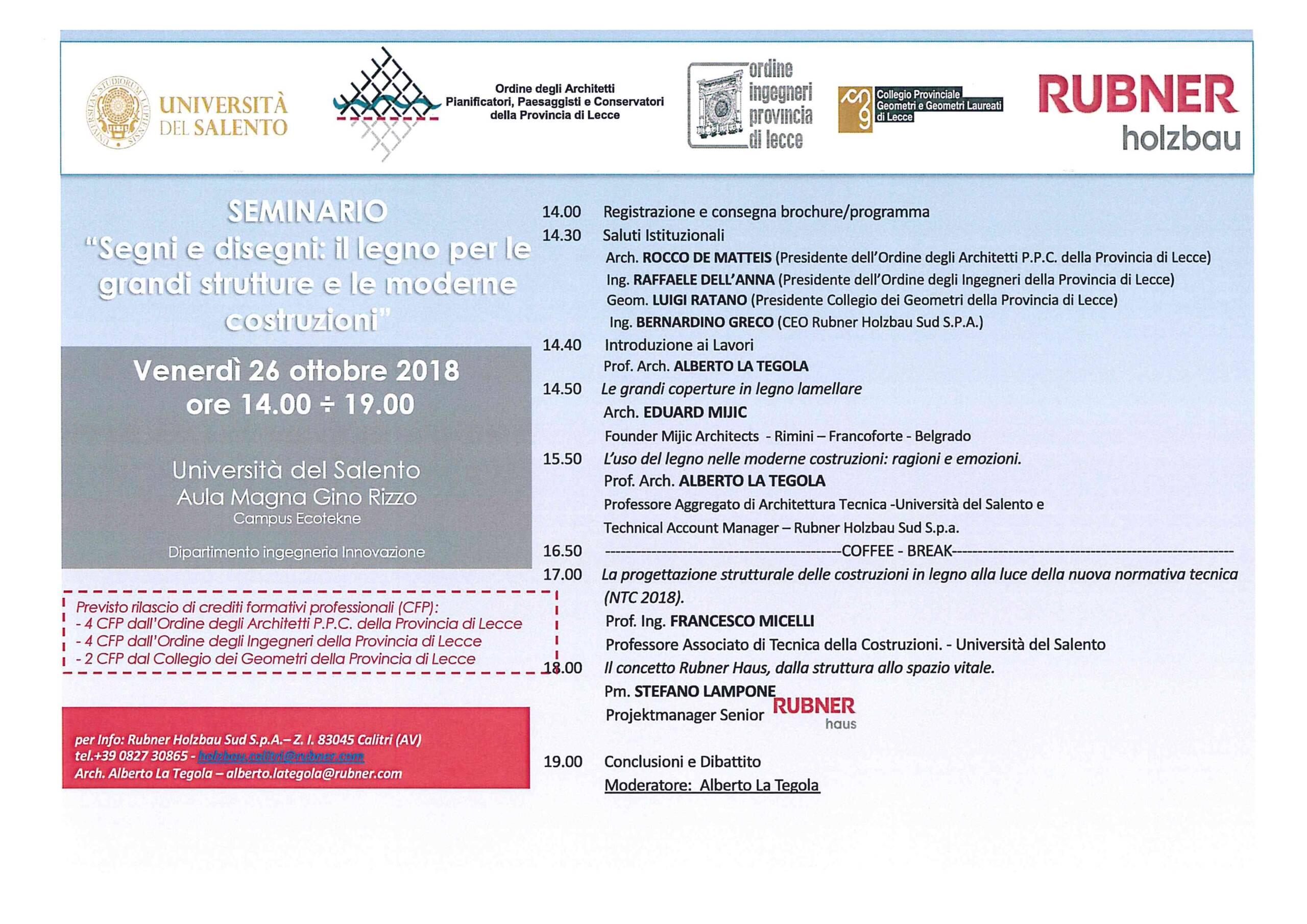 """Rubner Holzbau – Seminario """"Segni e disegni: il legno per le grandi strutture e le moderne costruzioni"""" – Lecce 26/10/2018"""
