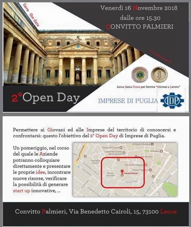 2° OPEN DAY di Imprese di Puglia – Lecce 16/11/2018