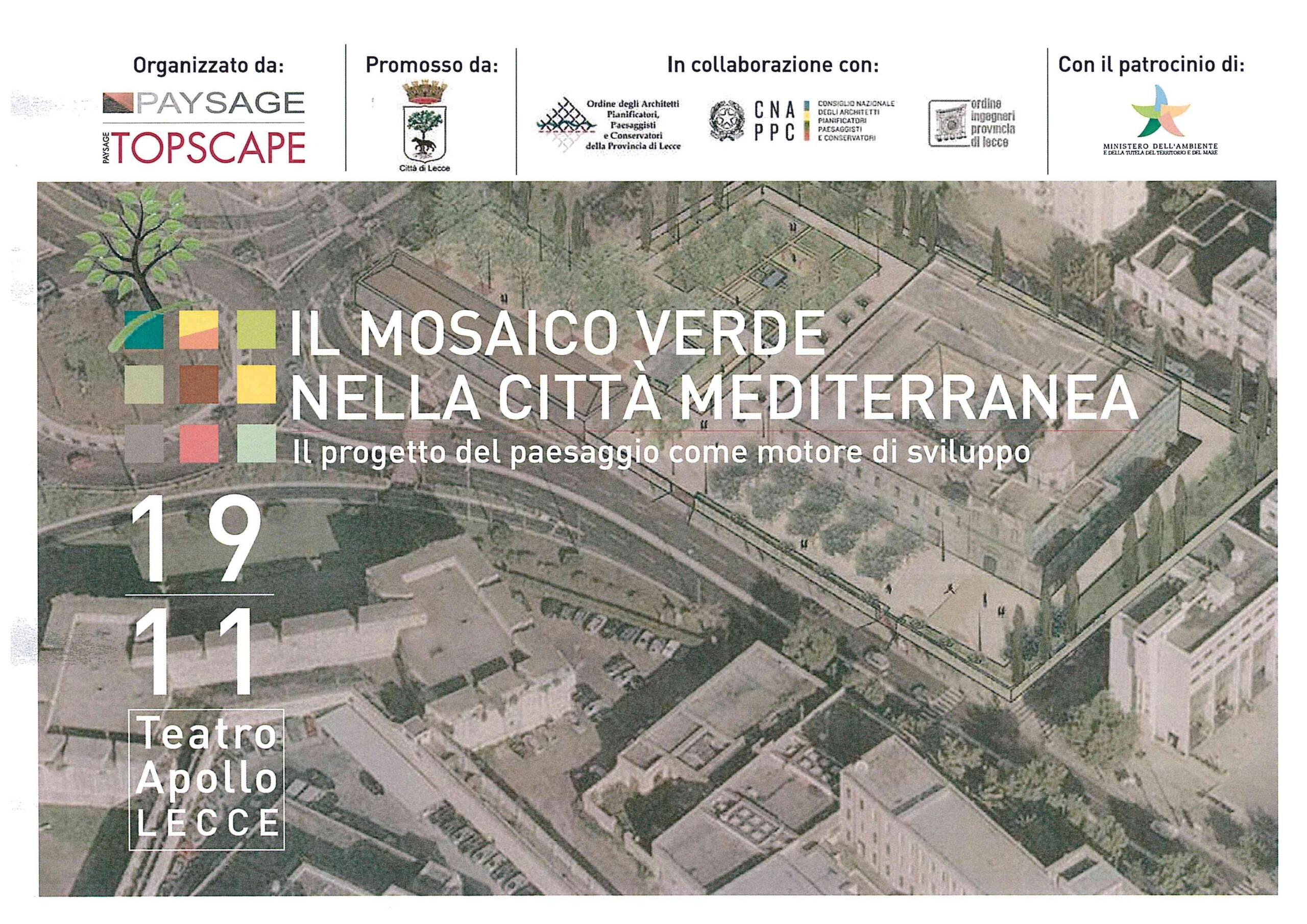 Evento – IL MOSAICO VERDE NELLA CITTÀ MEDITERRANEA – Lecce 19/11/2018