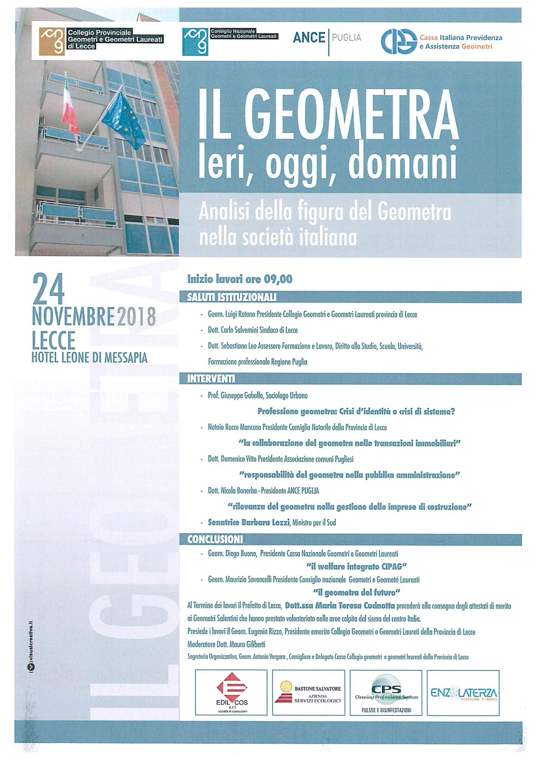 """Convegno: """"Il Geometra. Ieri, oggi, domani. Analisi della figura del Geometra nella società italiana"""" – Lecce, 24/11/2018"""