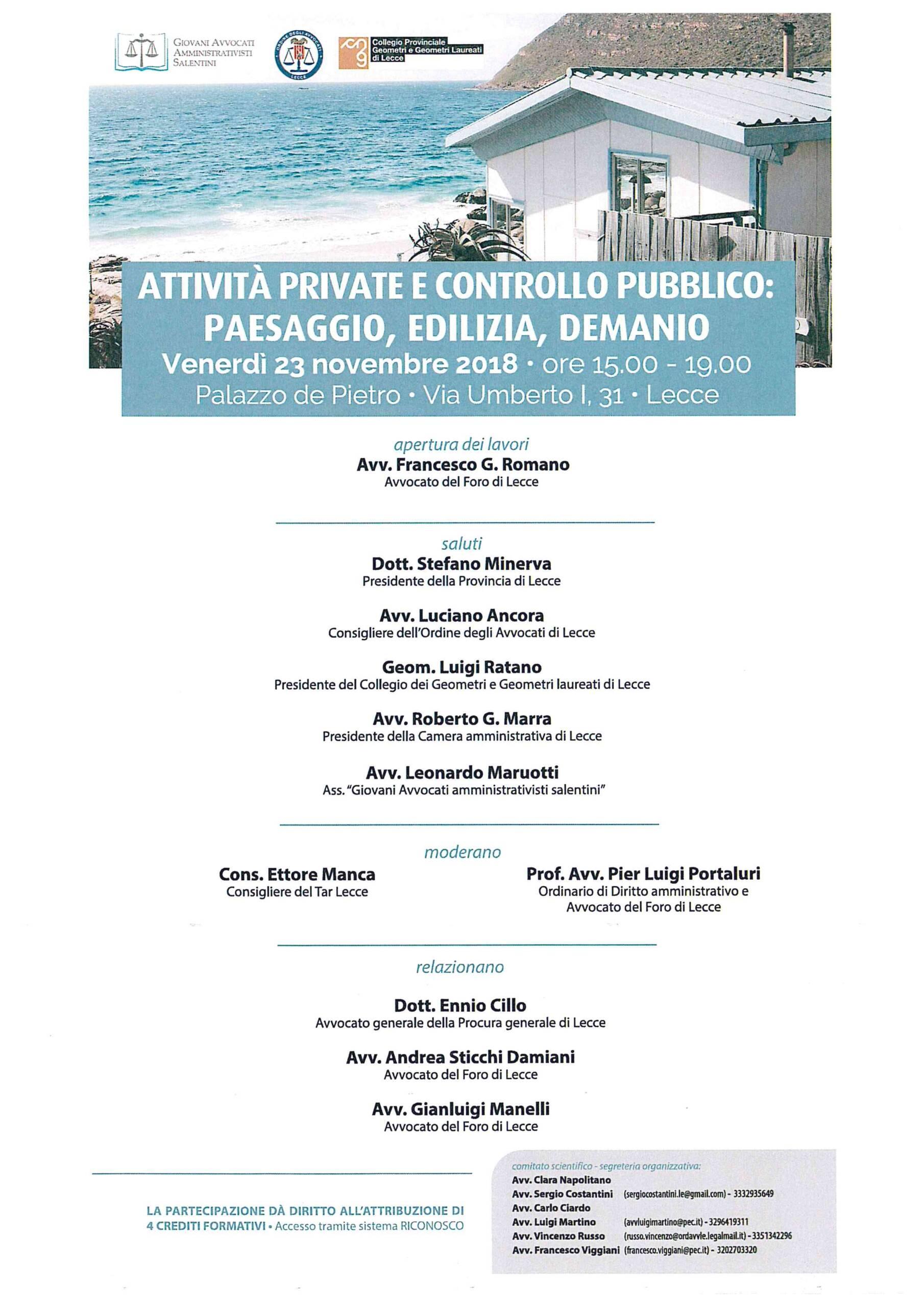 Convegno: Attività private e controllo pubblico: Paesaggio, Edilizia, Demanio – Lecce 23/11/2018