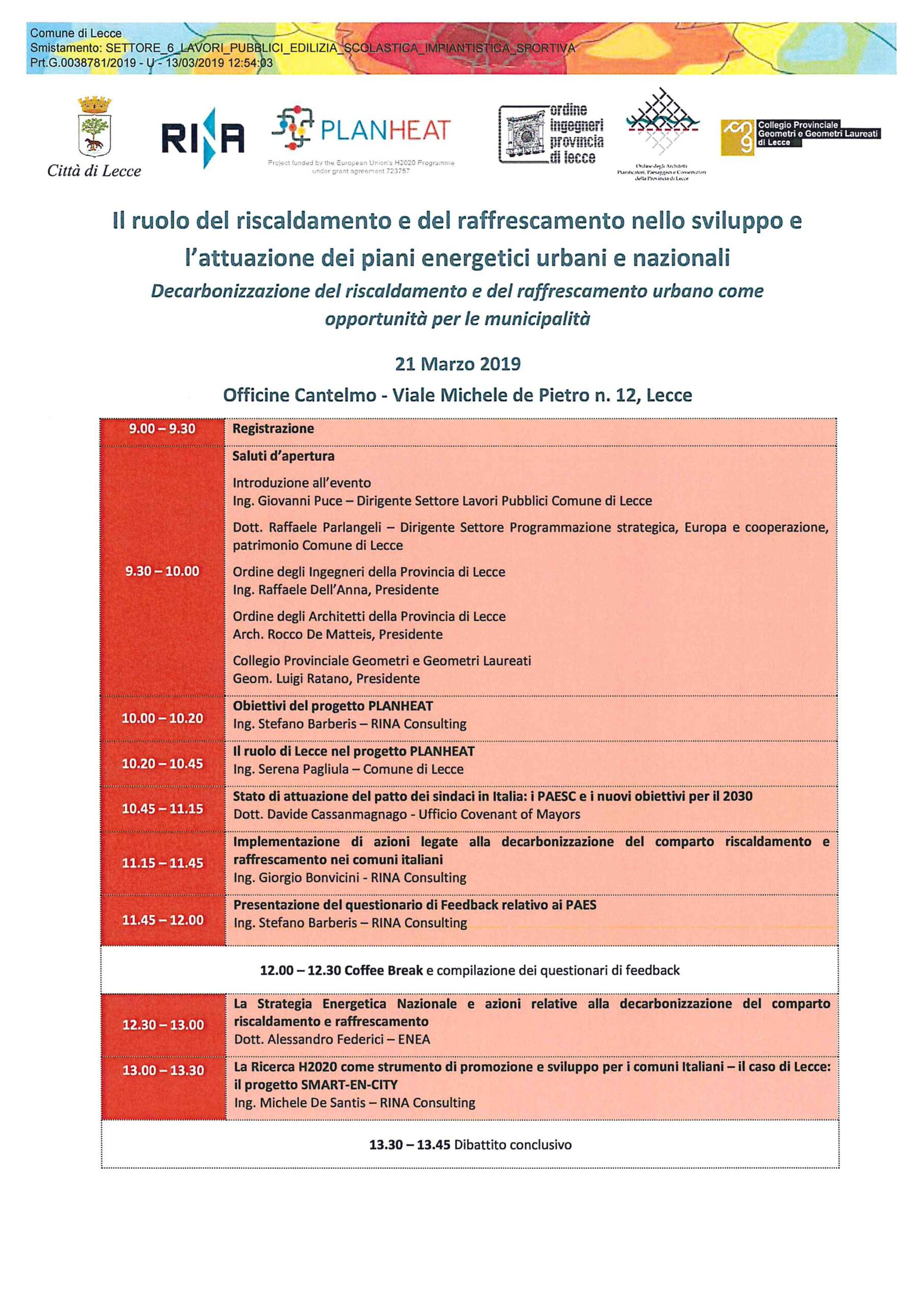 Evento – Il ruolo del riscaldamento e del raffrescamento nello sviluppo e l'attuazione dei piani energetici urbani e nazionali – Lecce 21-22 marzo 2019