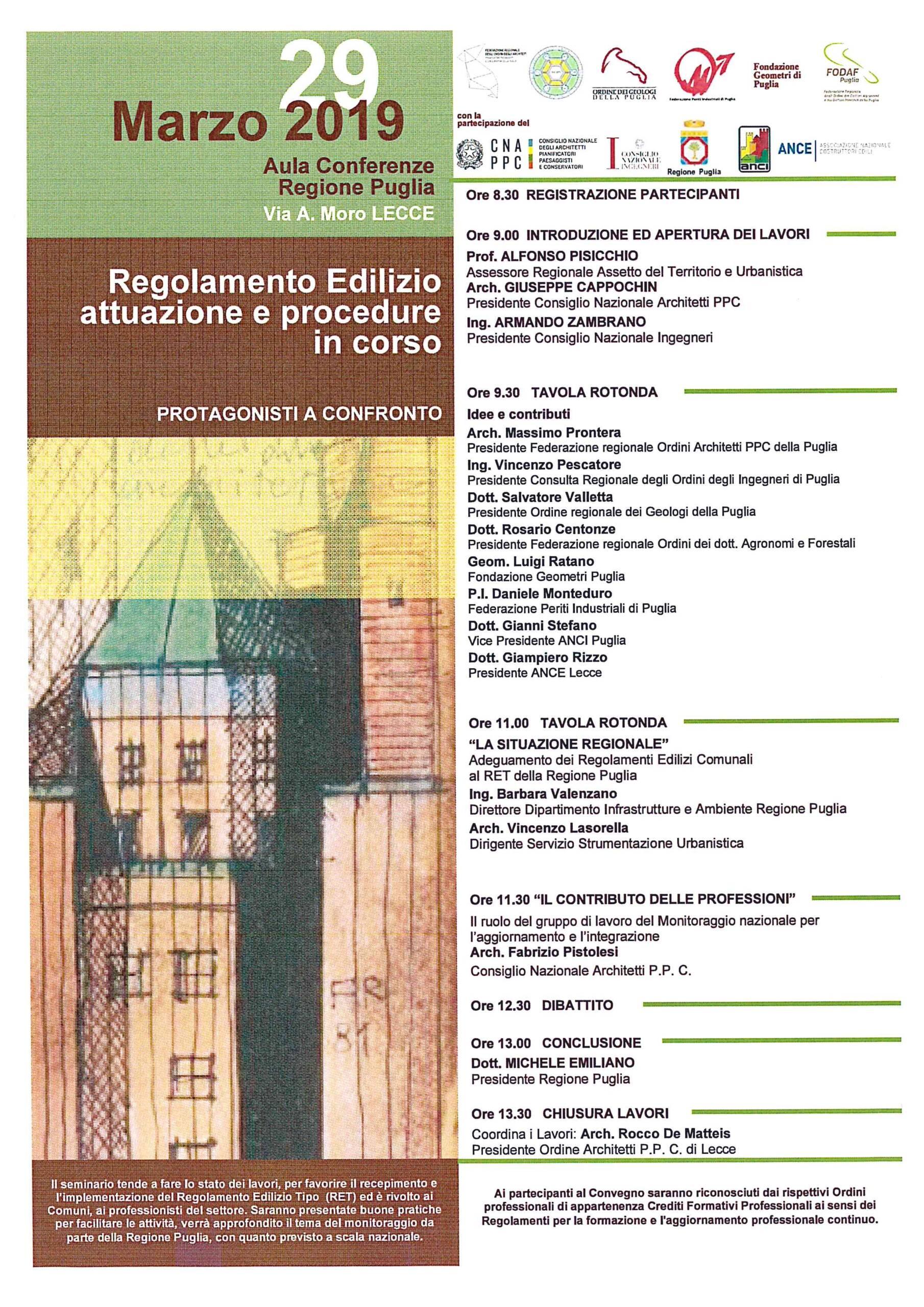 """Convegno """"Regolamento Edilizio – attuazione e procedure in corso – PROTAGONISTI A CONFRONTO"""" – Lecce 29-03-2019"""