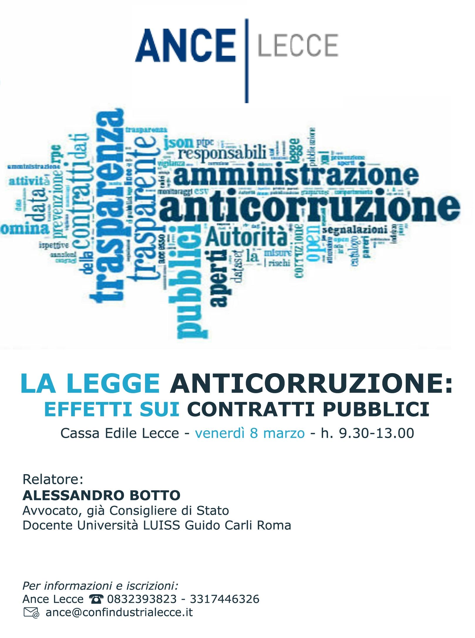 """Incontro ANCE Lecce: """"La Legge Anticorruzione: effetti sui contratti pubblici"""" – Lecce 08/03/2019"""