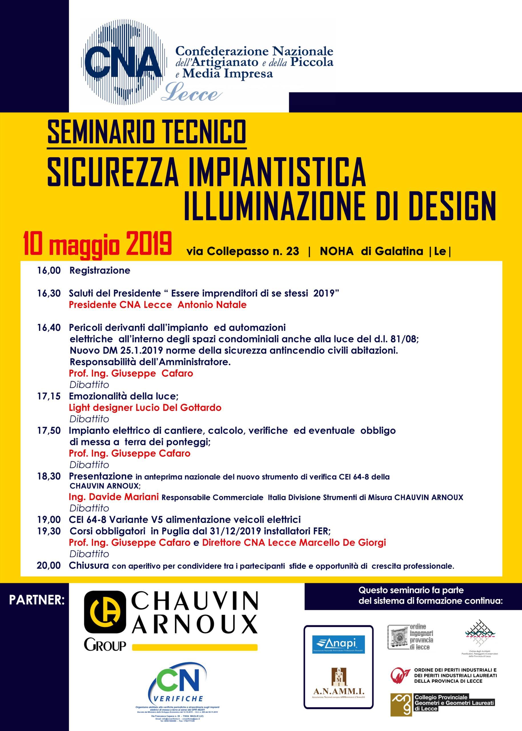 """CNA Lecce – Seminario tecnico """"Sicurezza Impiantistica – Illuminazione di Design"""" – Noha di Galatina (Le) 10/05/2019"""