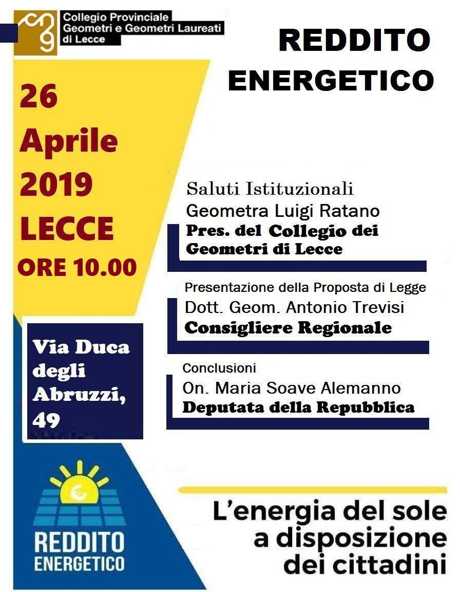 """Invito convegno """"Reddito Energetico"""" – Illustrazione Proposta di Legge regionale recante """"Istituzione del Reddito energetico regionale"""" – Lecce 26/04/2019"""