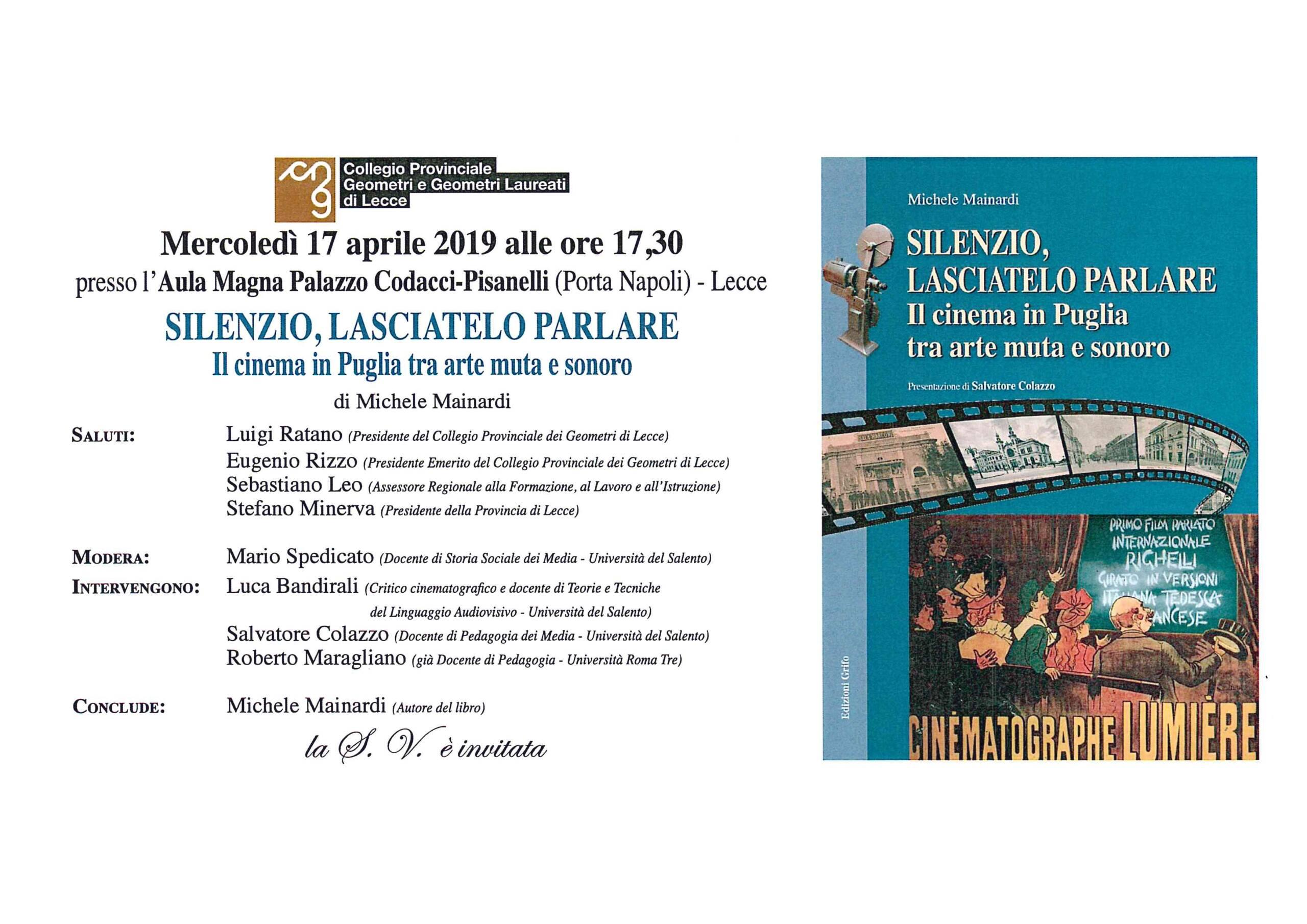 Invito presentazione libro sulla storia del cinema in Puglia – Lecce 17/04/2019