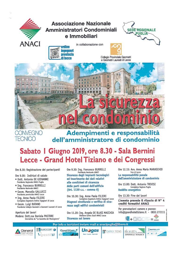 Convegno tecnico ANACI – La Sicurezza nel condominio. Adempimenti e responsabilità dell'amministratore di condominio – Lecce 01/06/2019