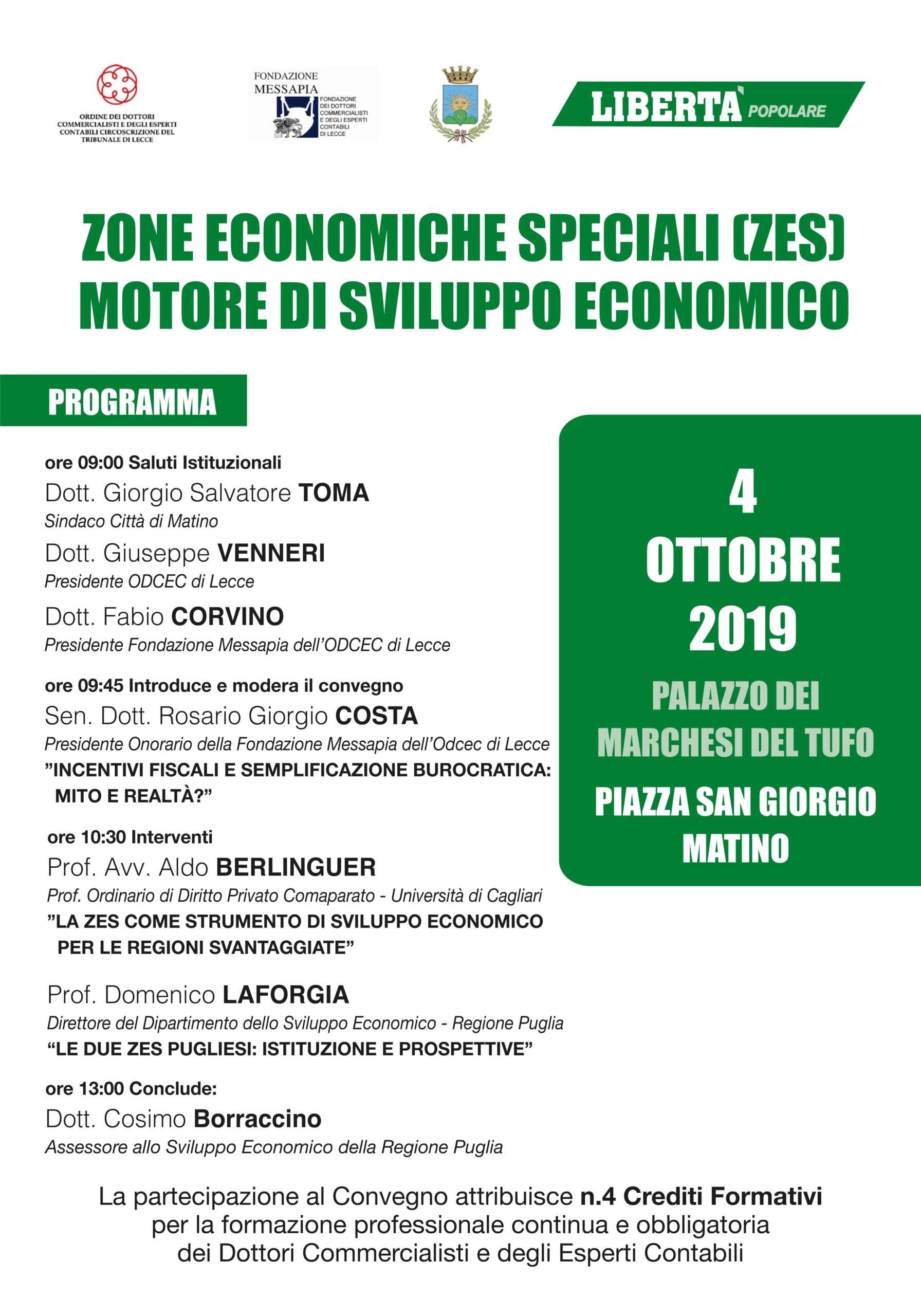 Convegno ODC Lecce – Zone economiche speciali (ZES) motore di sviluppo economico – Matino 04/10/2019