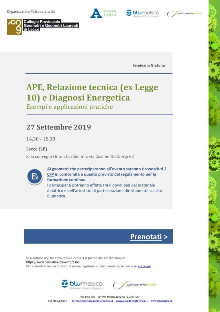 """Blumatica – Seminario gratuito """"APE, Relazione tecnica (ex Legge 10) e Diagnosi Energetica"""" – Lecce 27/09/2019"""