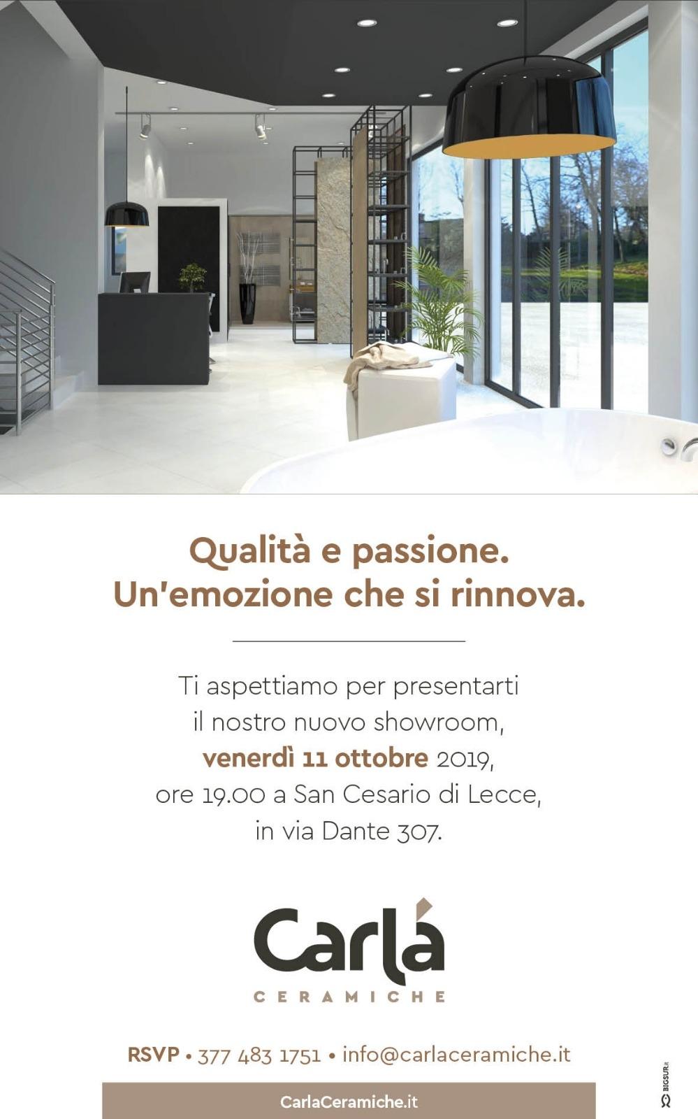 Invito inaugurazione nuovo showroom Carlà Ceramiche – San Cesario di Lecce 11/10/2019