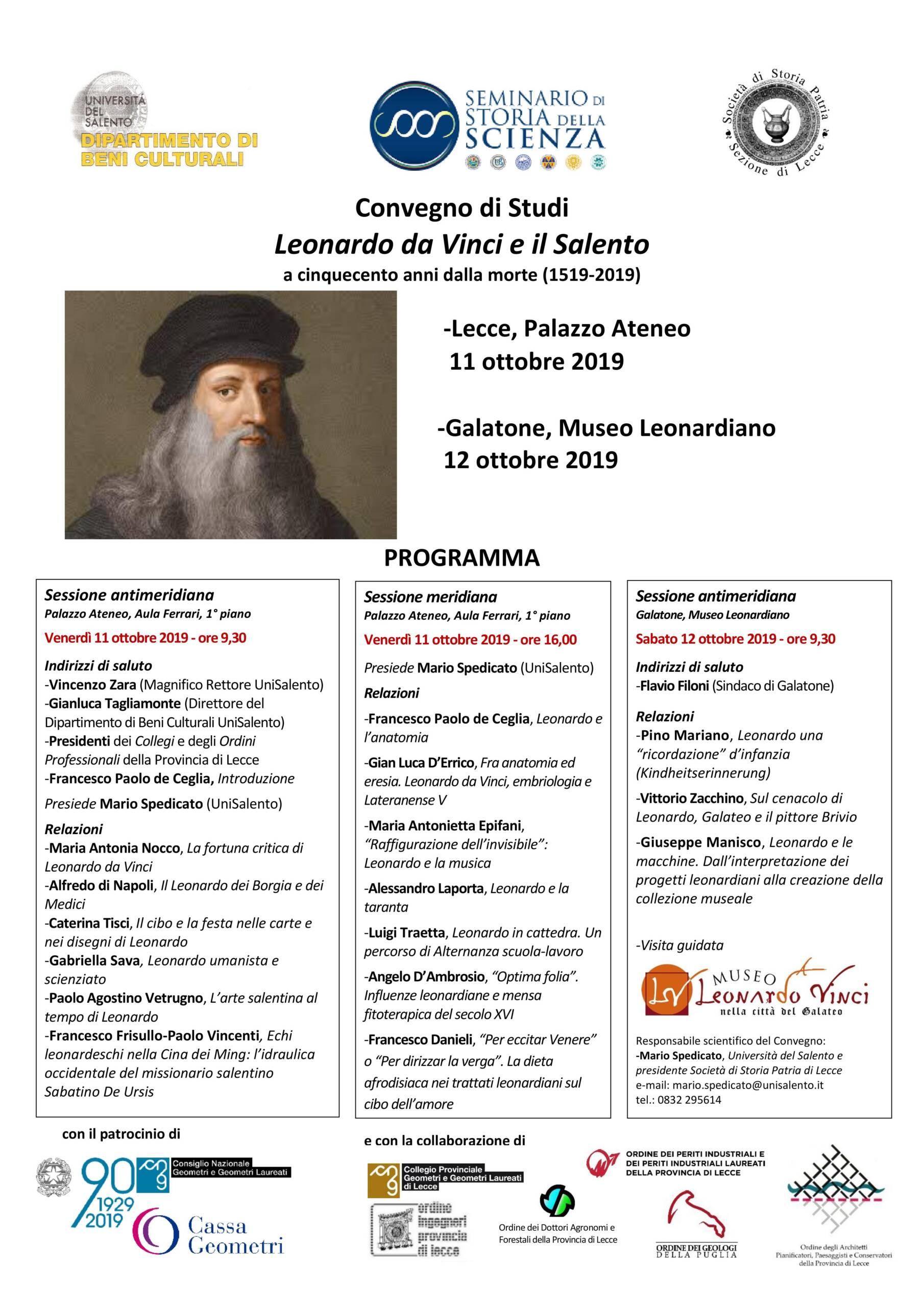 """Comunicato Stampa – Convegno di Studi """"Leonardo da Vinci e il Salento a cinquecento anni dalla morte (1519-2019)"""""""