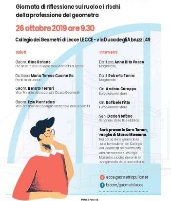 Invito Convegno: IN MEMORIA DI MARCO MASSANO – Lecce, 26 ottobre 2019