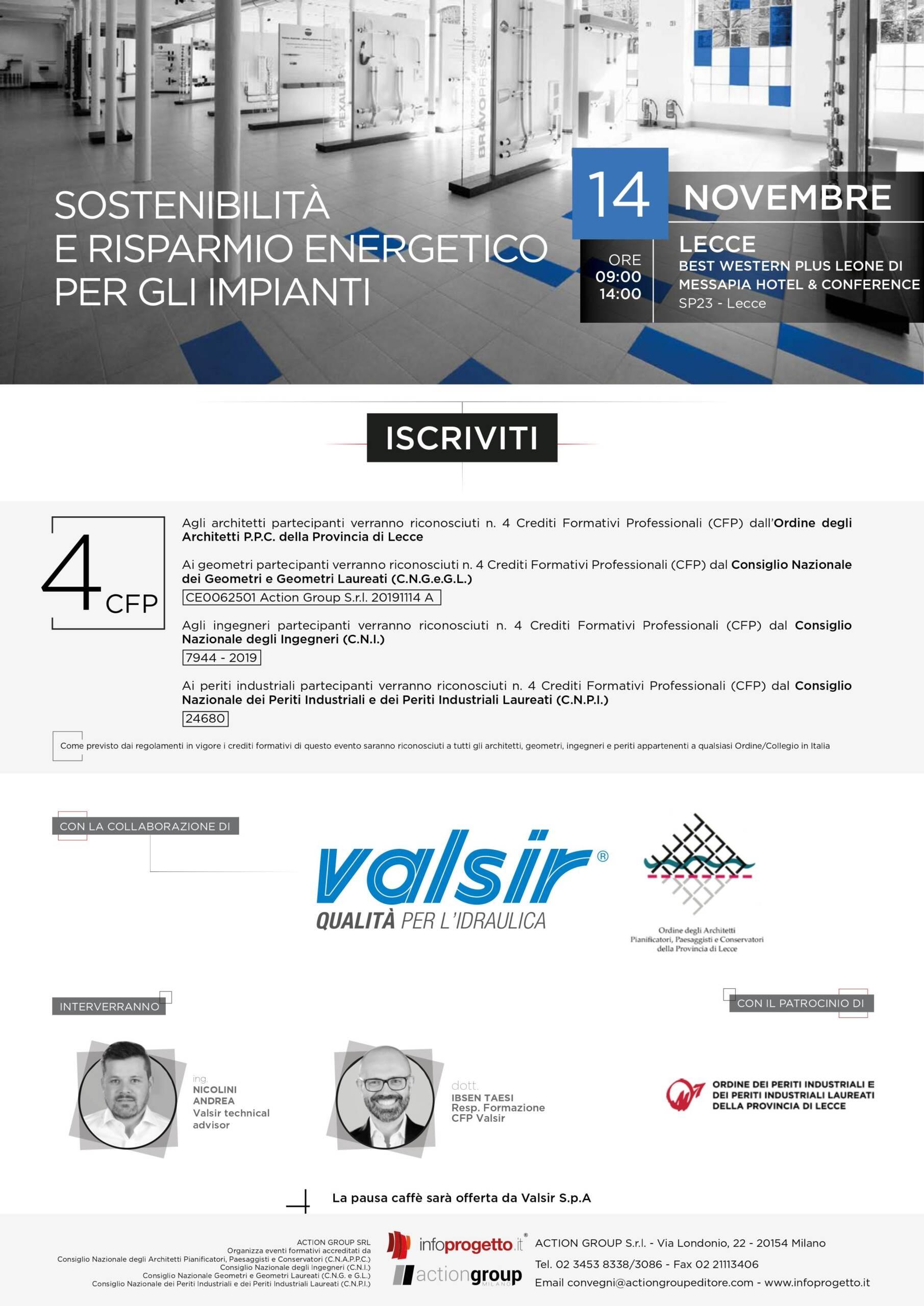 """Action Group Srl – Evento """"Sostenibilità e risparmio energetico per gli impianti"""" – Lecce 14/11/2019"""
