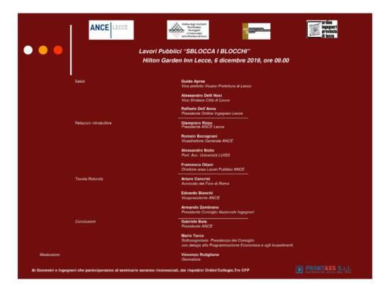 Incontro ANCE Lecce: LAVORI PUBBLICI: SBLOCCA I BLOCCHI – Lecce 06/12/2019
