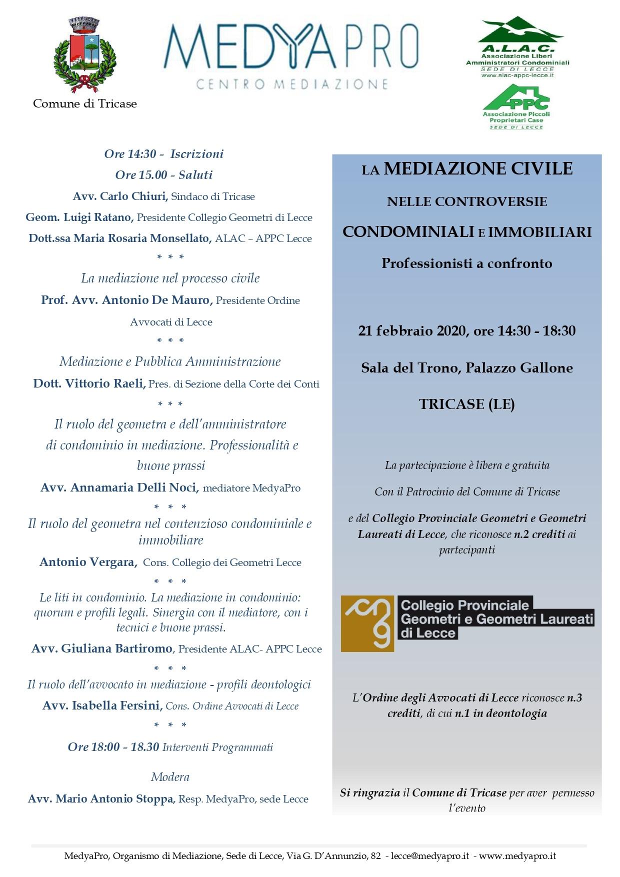 """MedyaPro – Evento """"LA MEDIAZIONE CIVILE NELLE CONTROVERSIE CONDOMINIALI E IMMOBILIARI"""" – Tricase 21/02/2020"""