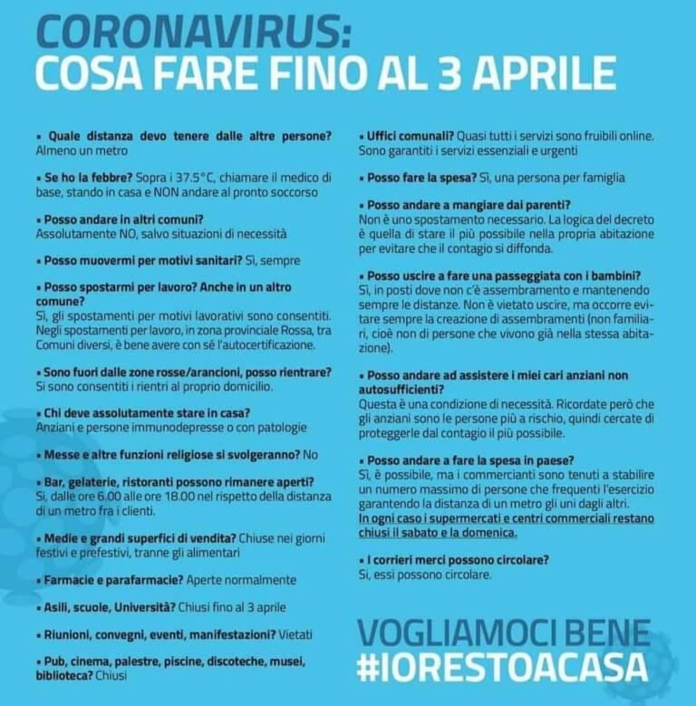 Emergenza COVID-19 – Decreto #IoRestoaCasa, domande frequenti sulle misure adottate dal Governo
