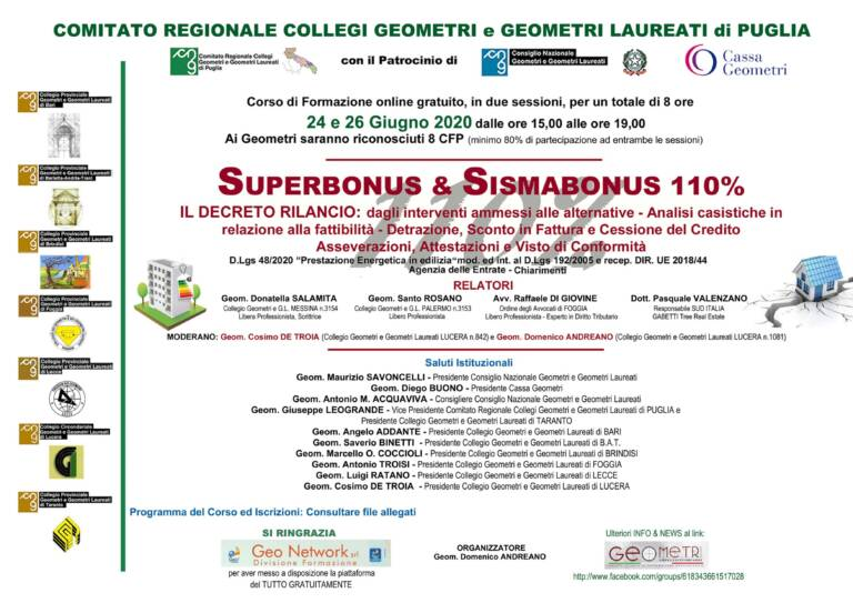Comitato Regionale Collegi Geometri di Puglia – Corso di formazione on line gratuito SUPERBONUS & SISMABONUS 110% – 24 e 26 giugno 2020