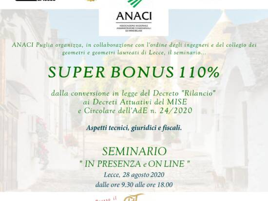 Seminario ANACI – SUPER BONUS 110% – in presenza e on-line – Lecce 28/08/2020