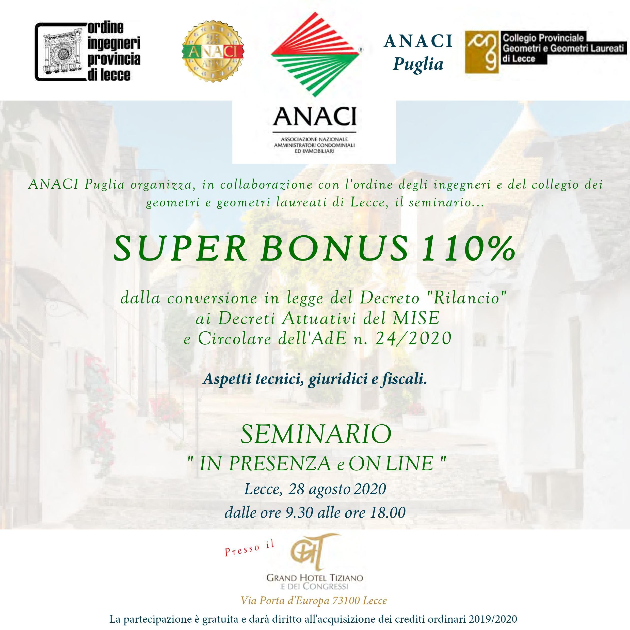 Seminario ANACI – SUPER BONUS 110% – in presenza e on-line – Lecce 28/08/2020