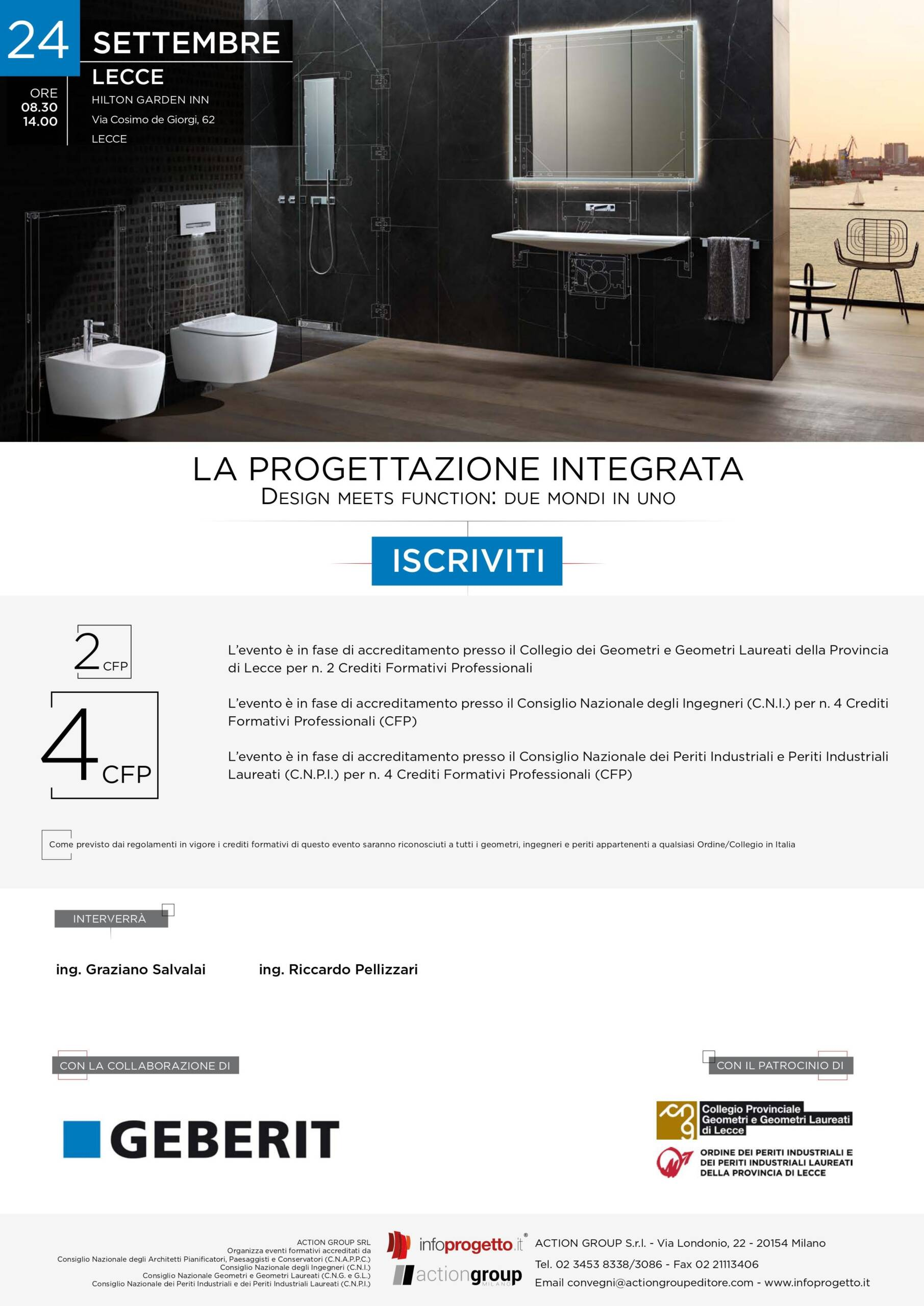 """Action Group Srl – Evento """"LA PROGETTAZIONE INTEGRATA – DESIGN MEETS FUNCTION: DUE MONDI IN UNO"""" – Lecce 24/09/2020"""