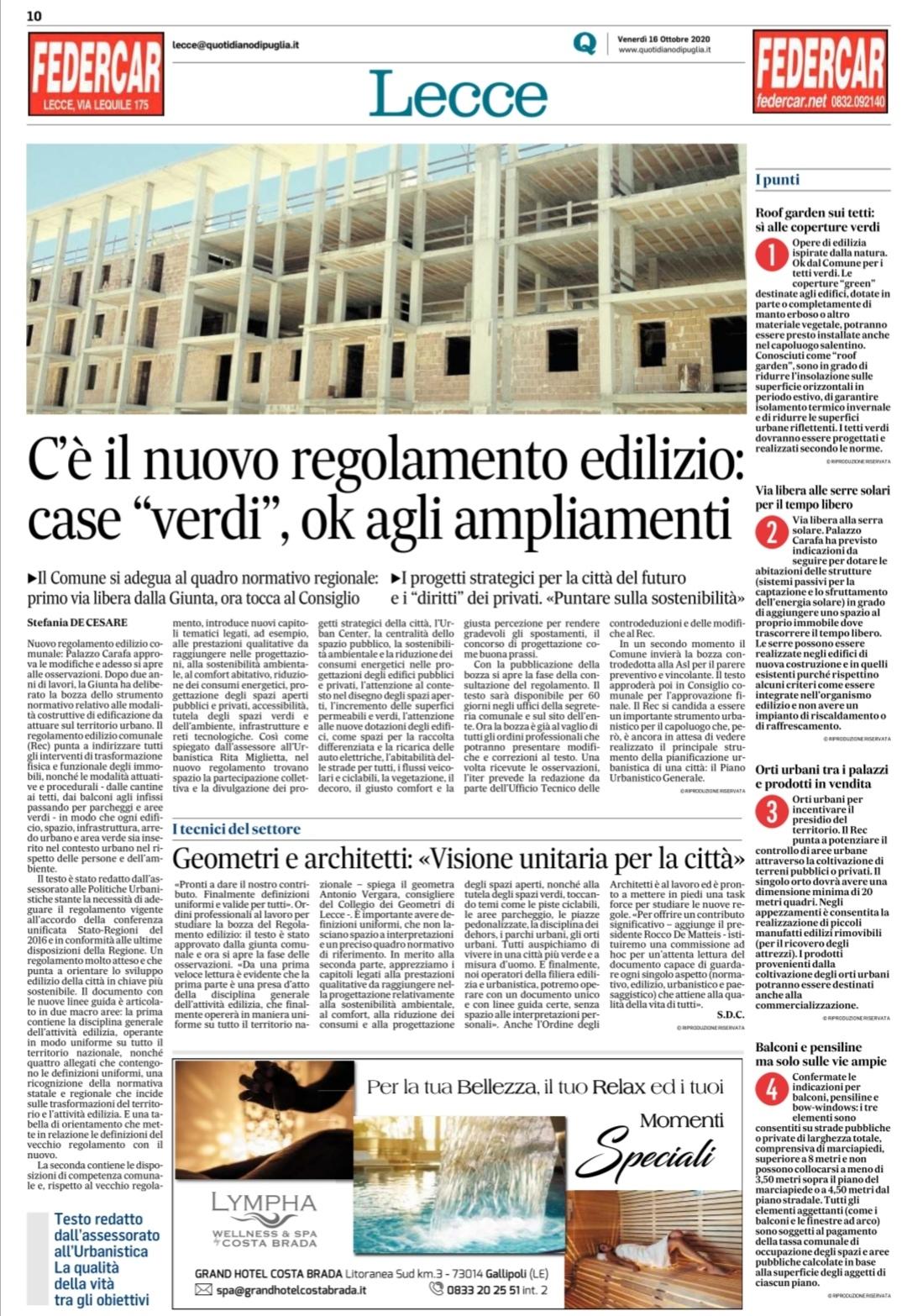 Comunicato Stampa – Lecce, c'è il nuovo regolamento edilizio comunale all'insegna della sostenibilità. Primo via libera dalla Giunta, ora tocca al Consiglio