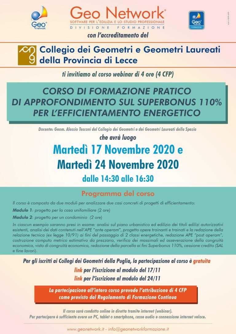 """Corso GeoNetwork """"CORSO DI FORMAZIONE PRATICO DI APPROFONDIMENTO SUL SUPERBONUS 110% PER L'EFFICIENTAMENTO ENERGETICO"""" – Modalità webinar 17 e 24 novembre 2020"""