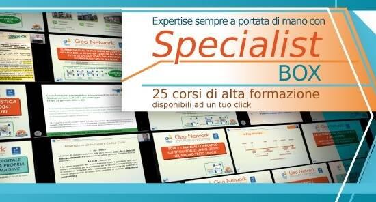 Offerta Specialist Box GeoNetwork – Corso in diretta da 20 CFP + 25 video corsi registrati – ULTIMA SETTIMANA