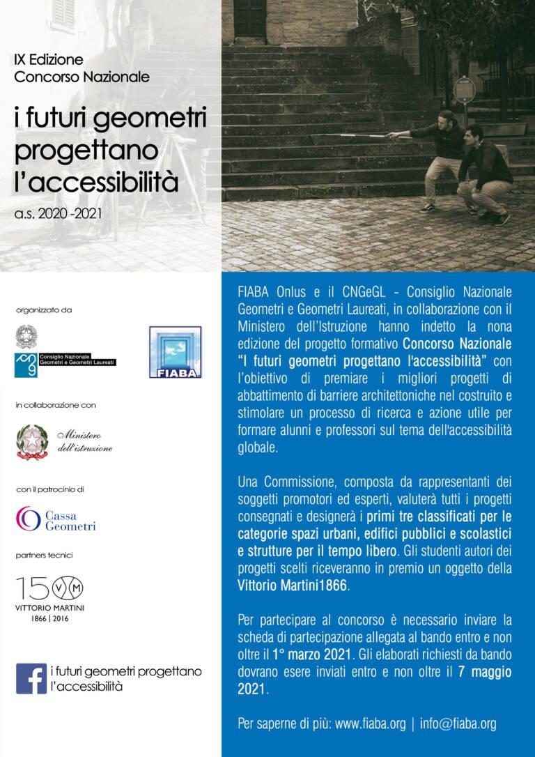 """Concorso Nazionale CNGeGL-FIABA """"I FUTURI GEOMETRI PROGETTANO L'ACCESSIBILITA'"""" – anno scolastico 2020/2021"""