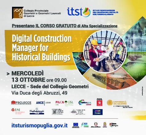 Comunicato Stampa – LECCE, mercoledì 13 ottobre, ore 9 – Presentazione del Corso biennale ITS GRATUITO di alta specializzazione sulla conduzione del cantiere di RESTAURO ARCHITETTONICO